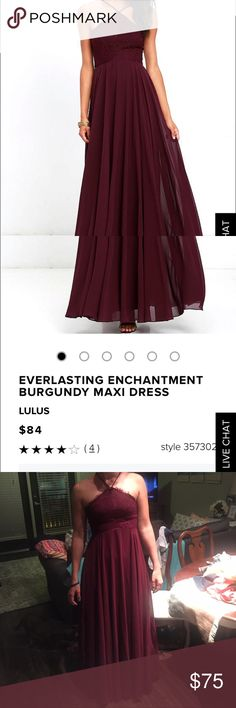 NWT Lulu's burgundy maxi dress with lace detail NWT bought as an option for a bridesmaid dress but now not wearing; size Medium, beautiful lace detail bodice and straps are adjustable! Lulu's Dresses Maxi