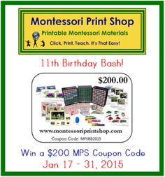 Win a $200 Coupon Code to Montessori Print Shop. Over 1700 printable Montessori materials to chose from! Open world-wide, Jan 17-31, 2015