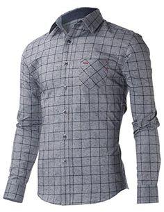 FLATSEVEN Mens Slim Fit Casual Square Check Long Sleeve Single Pocket Shirts (SH427) Grey, L FLATSEVEN http://www.amazon.com/dp/B00SPXCRDC/ref=cm_sw_r_pi_dp_WyV3ub10PAZWE #FLATSEVEN #Men #Casual #Shirts #fashion
