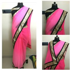 Shaded pink sari with sequins border with black raw silk blouse. Available at www.facebook.com/drapemegold