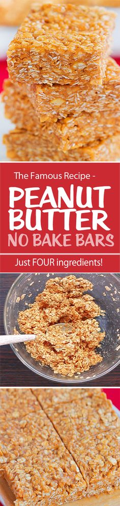 No Bake Peanut Butter Bars, with just 4 ingredients and they are so good!