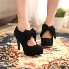 kawaii cute Sweet bow fashion heeled shoes boots