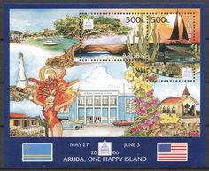 Stamps with Philatelic Exhibition, Cactus, Lighthouse, Reptiles from Aruba, product #192809