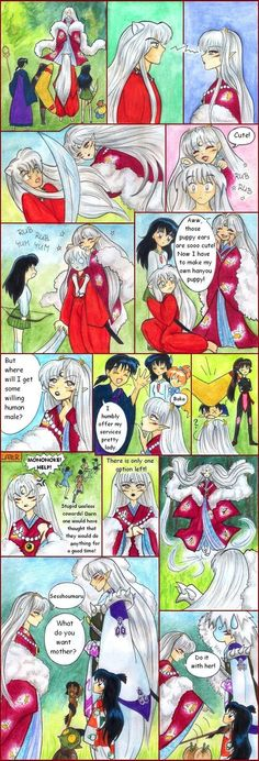 "Kagome, InuYasha, Miroku, Sango, Shippo, Sesshomaru, his mother ""Inu Kimi"", Jaken, and Rin: ""hanyoun beauty"" funny comic - InuYasha; fan art"
