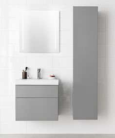 Gray with style. IDO Trend Bathroom Inspiration, Bathroom Ideas, Vanity, Kitchen, Furniture, Home, Bathrooms, Gray, Style