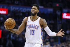 f060430e08f Oklahoma City\'s Paul George reacts to a call during the NBA basketball  game between the Oklahoma City Thunder and Brooklyn Nets at the Chesapeake  Energy ...