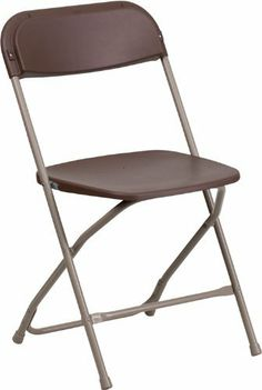 Flash Furniture LE-L-3-BROWN-GG Hercules Series 800-Pound Premium Brown Plastic Folding Chair by Flash Furniture. $12.99. Brown Plastic Seat and Back. Contoured back and seat. 800-pound weight capacity. Lightweight for easy handling. Brown plastic folding chair, 17-1/4-inch width by 18-inch depth by 32-inch height. Plastic folding chairs are the choice of many event planners for their lightweight design, ease of cleaning, and versatility among events. This portable...