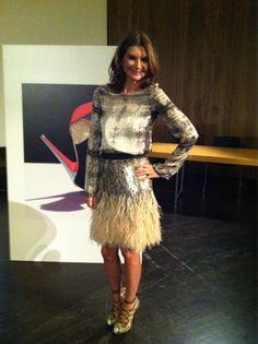 Natalie Massenet wears a Matthew Williamson skirt, Theyskens' Theory top and Christian Louboutin heels