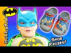 This idea created by HobbyKidsTV. Batman Croc shoes have surprises hiding inside! Superman Crocs holding surprise toys + blind bags with HobbyPig and HobbyFr. Batman Shoes, Superhero Shows, Cool Toys, Crocs, Superman, Eggs, Fun, Egg, Lol