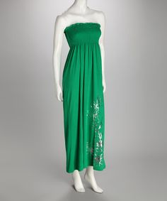 Take a look at this Kelly Green Smocked Maxi Dress by Fashion Instincts on #zulily today!