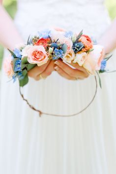 Peach & Blue Spring Bridal Flower Crown Photography by An