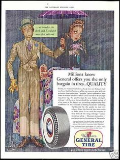"""Ad from 1941. """"Millions know General offers you the only bargain in tires... QUALITY..""""  #tires #generaltire #vintageads #quality #1940s"""