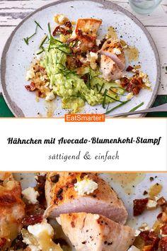 H hnchenbrust mit Avocado-Blumenkohl-Stampf H hnchenbrust mit Avocado-Blumenkohl-Stampf EAT SMARTER eatsmarter Geselliges Dinner mit Freunden H hnchenbrust mit Avocado-Blumenkohl-Stampf smarter Kalorien 294 kcal nbsp hellip Mashed Cauliflower, Cauliflower Recipes, Healthy Chicken Recipes, Healthy Dinner Recipes, Diet Recipes, Mashed Avocado, Clean Eating Dinner, Le Diner, Eat Smarter