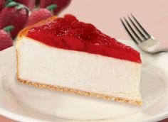 """Eli's Original Plain Cheesecake, topped with luscious red strawberries and baked on our crisp, all-butter, shortbread cookie crust. 9"""" Cheesecake, pre-sliced, serves 16.  #Cheesecake #Dessert #Strawberry"""