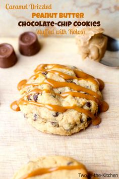 Caramel Drizzled Peanut Butter Chocolate Chip Cookies | Two in the Kitchen