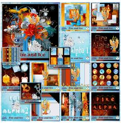 Digital Scrapbooking Studio Fire & Ice Bundle - When the winter wind blows and ice chills the air, we sit by the fire and it's warmth that we share. For memories of nights by the flickering flame or days in the snow playing winter day games, you'll find everything you'll need  for your scrapbook pages in this warm