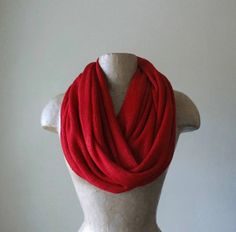 Lipstick Red Tube Scarf  Sweater Knit Infinity Scarf  by EcoShag, $28.50