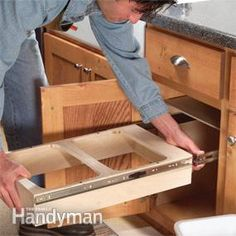 How to Build Pullout Cabinet Drawers - Thinking about making my own bar cabinet furniture.