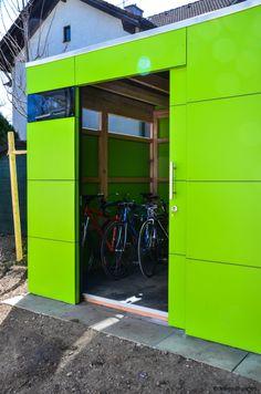 gartenhaus mit schiebetüre by design@garten - munich #Gartenhaus #HPL #Gerätehaus