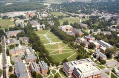 Pictures of Maryland:  College Park - College Park Aviation Museum ~ Aerial view of the University of Maryland at College Park, Maryland - photo via PlanetWare