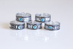Tribal Style 925 Turquoise  SIlver Toe Ring - AristaBeads Jewelry  - 1