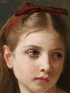 Une Petite Fille by William Adolphe Bouguereau Handmade oil painting reproduction on canvas for sale,We can offer Framed art,Wall Art,Gallery Wrap and Stretched Canvas,Choose from multiple sizes and frames at discount price. William Adolphe Bouguereau, Classic Paintings, Beautiful Paintings, Contemporary Paintings, Romantic Paintings, Fashion Salon, Image Swag, Red Hair Bow, Music Wall Art
