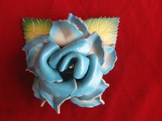 Vintage blue leather rose pin by SycamoreVintage on Etsy, $29.99