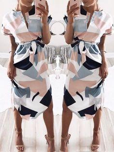 Color Block Tied Waist Dip Hem Shirt Casual Dress
