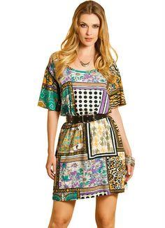 Vestido Curto com Estampa de Lenço Quintess - Moda Feminina Vestidos Vestido Médio Moda Feminina - Quintess - Moda Feminina