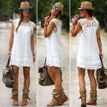 Women Fashion Sexy Casual Cap Sleeve Crochet Lace Hollow Solid Sundress A-Line Party Mini Dress White