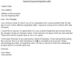 Resignation Letter   Resignation Letter Samples For A Variety Of Reasons  For Leaving Employment.
