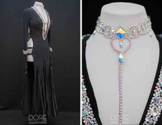 Black Long Sleeve Smooth Latin with Crystal Neckline Open Side and Attached Crystal AB Choker