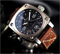 Interesting looking time-piece. Steinhart Aviation GMT automatic (hope those corners aren't as sharp as they look! Mens Watches 2014, Luxury Watches For Men, Ladies Watches, Cool Watches, Rolex Watches, Fossil Watches, Steinhart Watch, Bracelet Cuir, Beautiful Watches