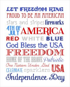 Fourth of July Subway Art {free printable}