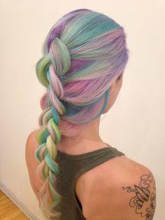 @hairbymisskellyo on Instagram, pastelhair, ombre, balayage , sand art hair , flowercrown, boho, hippy, weddinghair, bridesmaid hair, updo , fishtail braid, rainbow hair, haircolour, 2015 trends, pink hair, purplehair, blue hair, mermaid hair, neon pastels, hair art, behind the chair, modernsalon, unicorn hair, my little pony, festival hair #sandarthair #rainbowhair  #pastelhair #mermaidhair