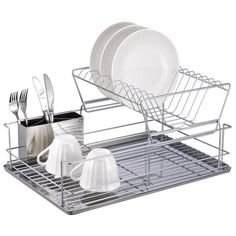 Holds a lot dishes to air dry and a removable cutlery holder. Sleek design is perfect for any kitchen. Top basket with open grip design to drain dishware. Holds a lot dishes to air dry and a removable cutlery holder. Chef Dishes, Kitchen Dishes, Kitchen Gadgets, Kitchen Dining, Kitchen Cabinets, Kitchen Corner, Kitchen Rack, Kitchen Storage, Silverware Holder