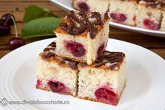 Cake with cherry Romanian Desserts, Brownie Cheesecake, French Toast, Cherry, Cooking, Breakfast, Sweet, Food, Drink