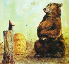 The gnome is on book tour. This image created by the great Rien Poortvliet for the equally great book GNOMES, with text by Wil Huygen Norman Rockwell, Rockwell Kent, Woodland Creatures, Magical Creatures, David The Gnome, Baumgarten, Bear Art, Dutch Artists, Children's Book Illustration