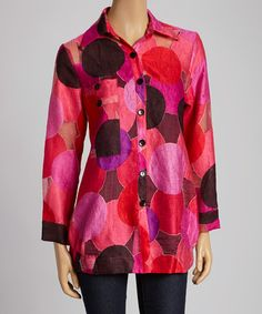 Another great find on #zulily! Pink & Black Circles Button-Up Jacket - Women & Plus #zulilyfinds