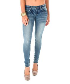 Look what I found on #zulily! Funky Soul Medium Blue Low-Rise Super Skinny Jeans by Funky Soul #zulilyfinds
