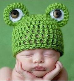 Boy's Crochet Frog Photo Prop