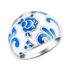 Sokolov Jewelry / Серебряное кольцо с бело-голубой эмалью