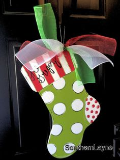 Items similar to Christmas Stocking Door Hanger on Etsy Christmas Wood Crafts, Christmas Door, Christmas Signs, Christmas Projects, Holiday Crafts, Holiday Fun, Christmas Stockings, Christmas Wreaths, Christmas Decorations