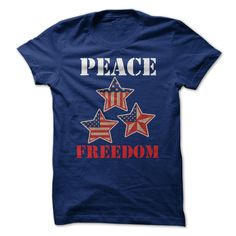 Peace and Freedom USA T-Shirts, Hoodies. CHECK PRICE ==► https://www.sunfrog.com/LifeStyle/Peace-and-Freedom-USA.html?id=41382