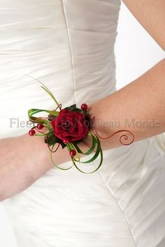 wrist corsage, red rose, bear grass, oasis aluminum wire.