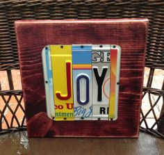 License Plate Art Sign   JOY by 4HollyLaneAntiques on Etsy, $32.00