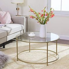 Golden Glass Coffee Table – Novielo London Round Glass Coffee Table, Glass Table, Hardwood Floors, Flooring, Good Old Times, Decoration Design, Rustic Furniture, Brighton, Couch