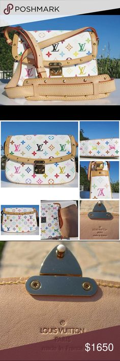 ✨Like New✨LOUIS VUITTON Multicolore Sologne Bag 💯% Authentic ✨VERY RARE✨LOUIS VUITTON Monogram White Multicolor Canvas & Vachetta Leather Sologne Messenger Crossbody Shoulder Purse Handbag. LIKE NEW (RARELY USED)! A definite collector's item for the Louis Vuitton lover, especially since the Multicolor line is discontinued and sold out! Leather is still light & gorgeous! Very minor wear on hardware & leather: superficial scratches & minor patina. COMES WITH: dust bag. 💖PRICE IS NEGOTIABLE…