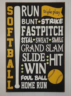SOFTBALL SUBWAY ART Sign by OntheHilltop on Etsy