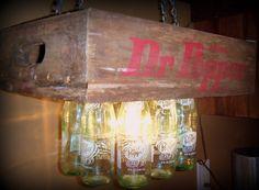 Hanging Dr Pepper Crate  Bottle Light/Man Cave. $79.00, via Etsy.